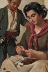 la cigarettière tableau espagnol  de Manuel CABRAL AGUADO y BEJARANO (1827-1891).png